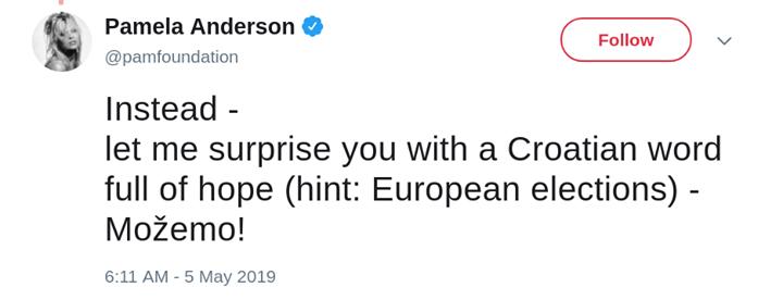 """PODRŠKA PAMELE ANDERSON  """"Možemo! je hrvatska ri…"""