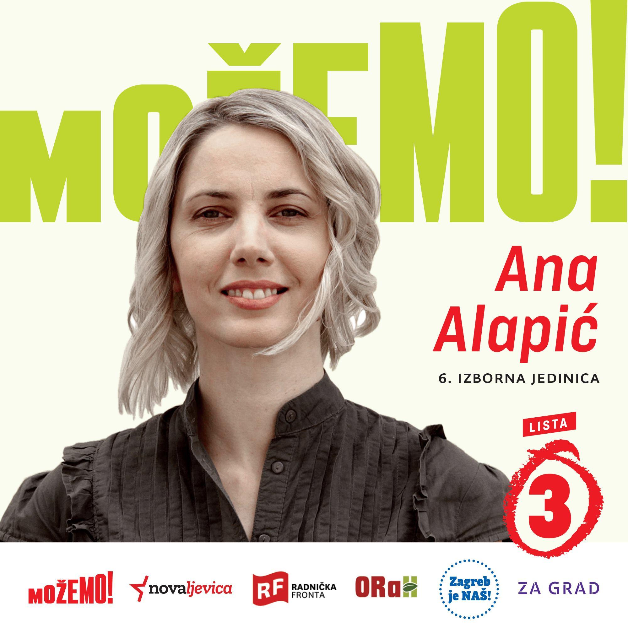 Treća na našoj listi u 6. izbornoj jedinici je Ana Alapić,