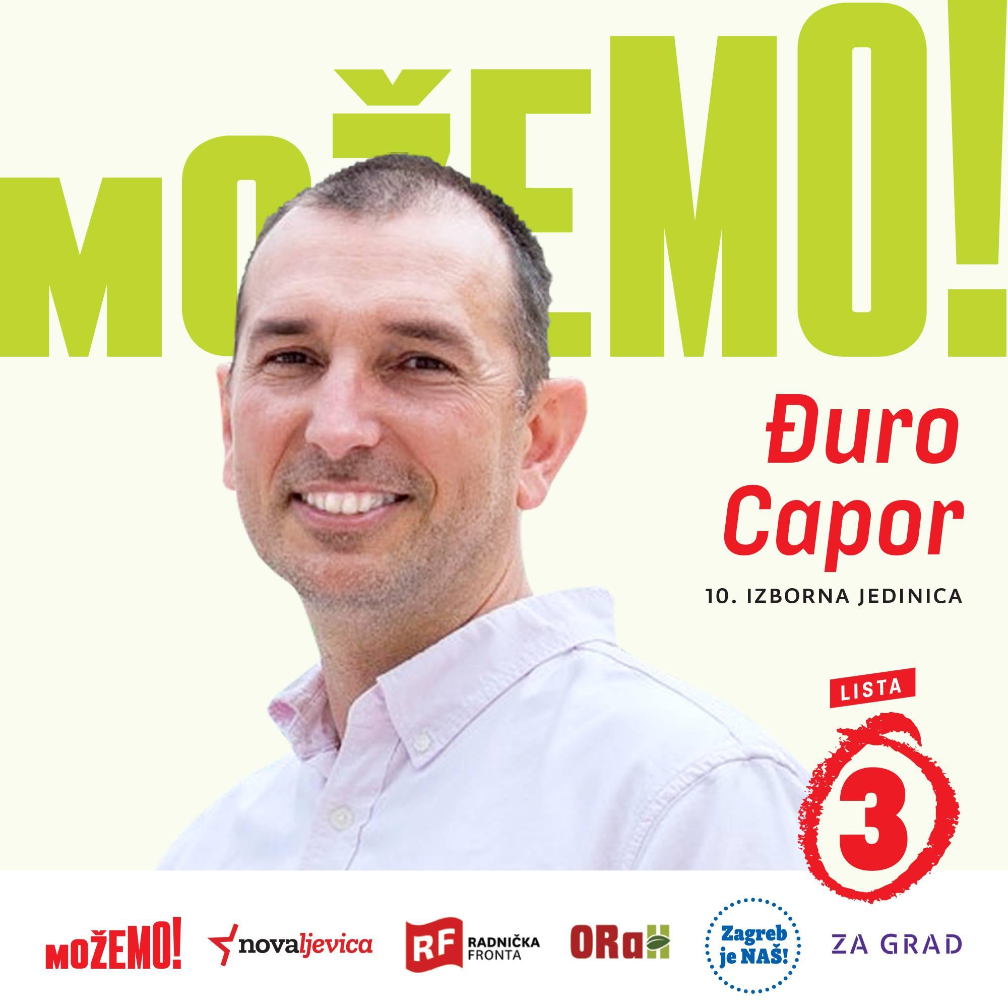 """Predstavljamo drugog na našoj listi u 10. izbornoj jedinici – koordinatora inicijative """"Srđ je naš"""" Đura Capora!"""
