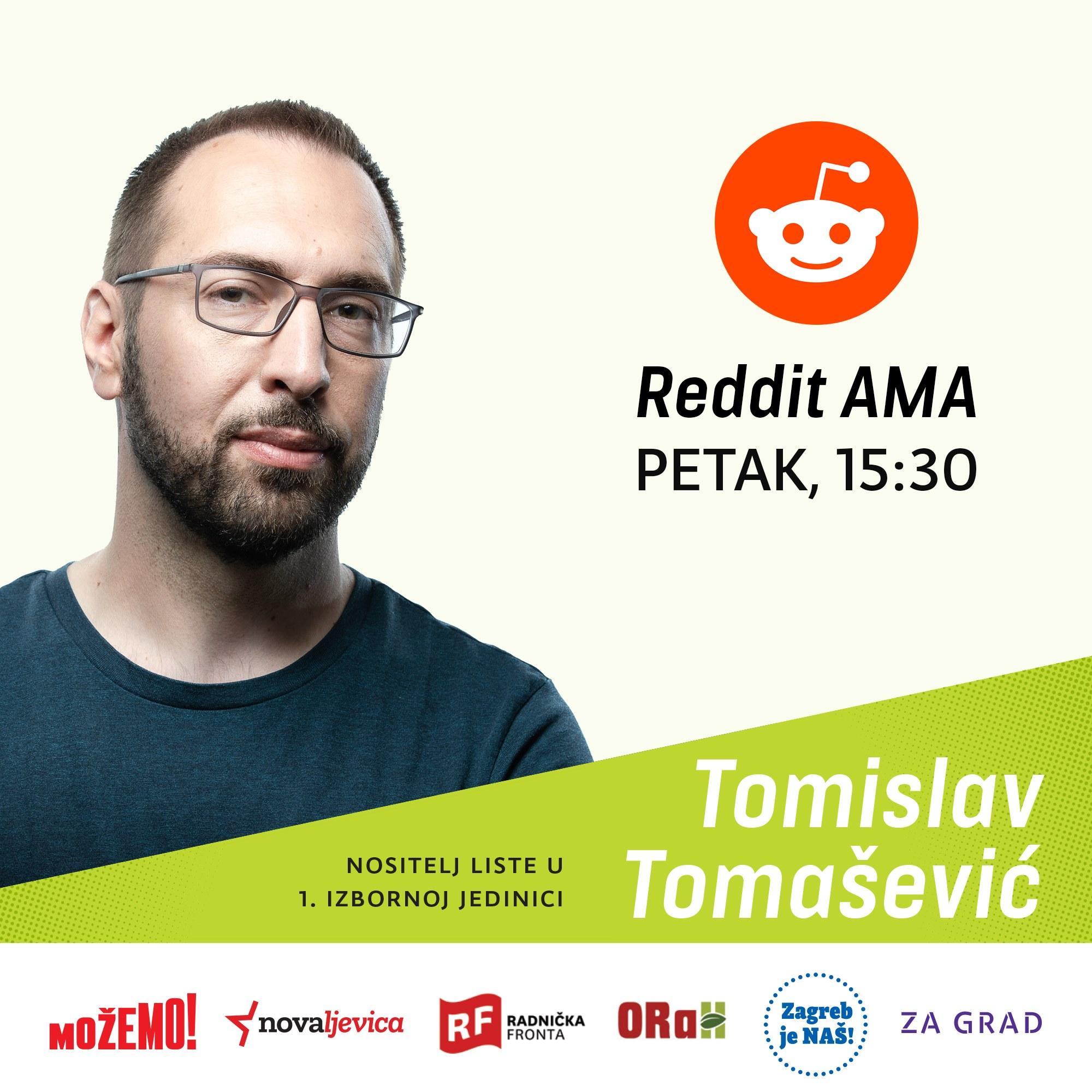 U petak od 15:30 sati ulovite Tomislava Tomaševića na Redditu!