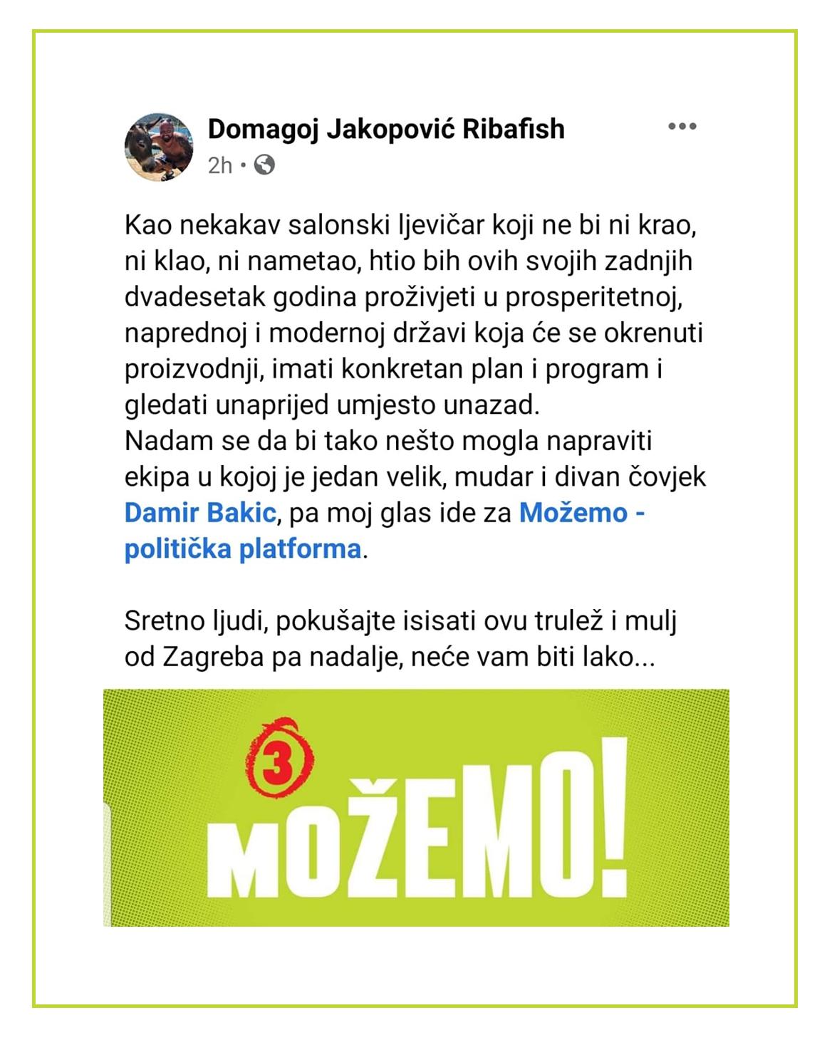 Podržava nas i poznati bloger i novinar Domagoj Jakopović Ribafish! :)